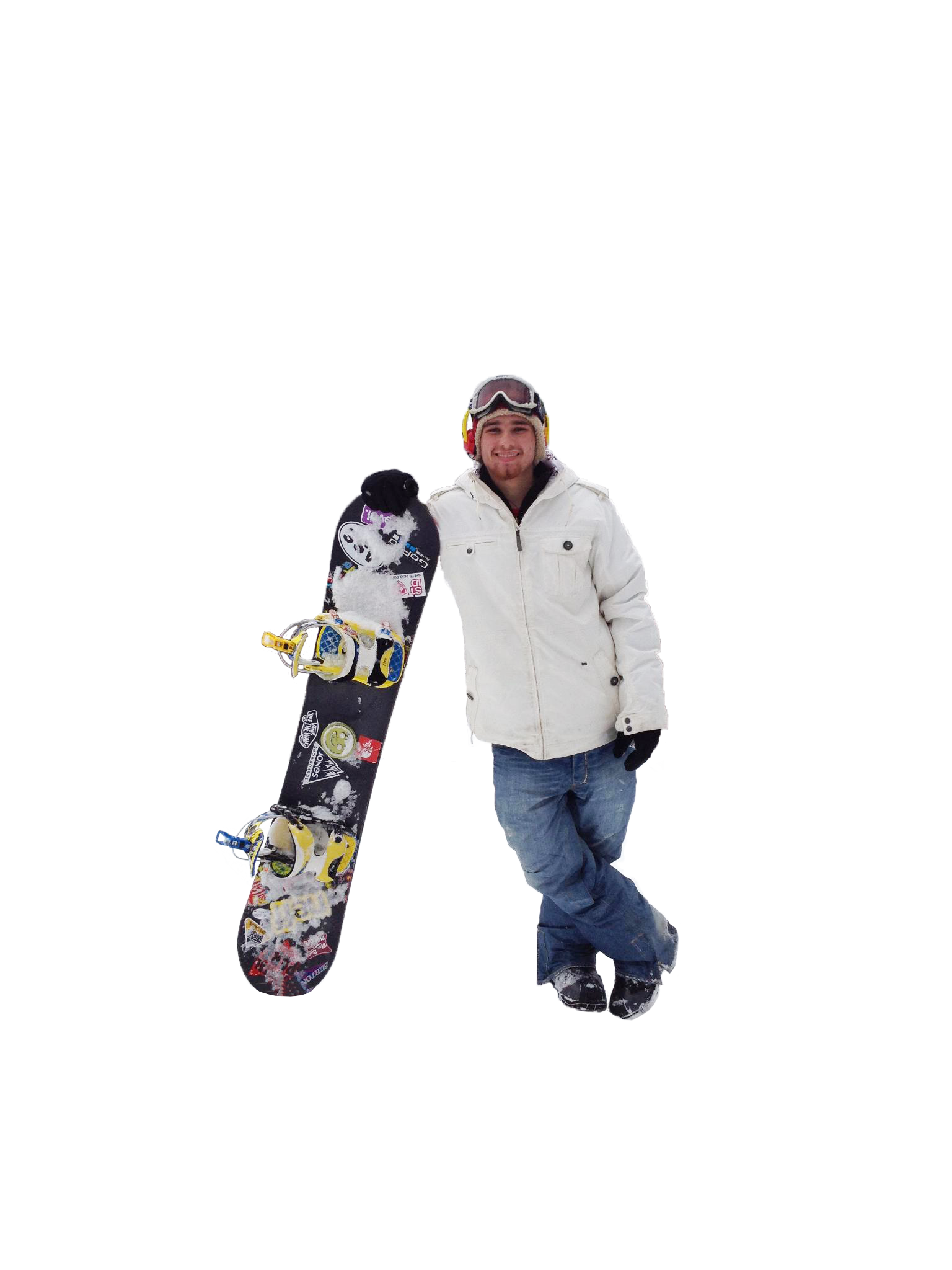 Alek Darr with snowboard at Holiday Valley Resort