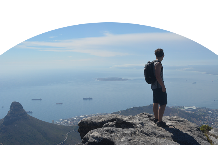 Alek Darr at the top of Table Mountain in Cape Town, South Africa